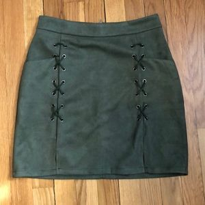 Dresses & Skirts - Green suede skirt with laces